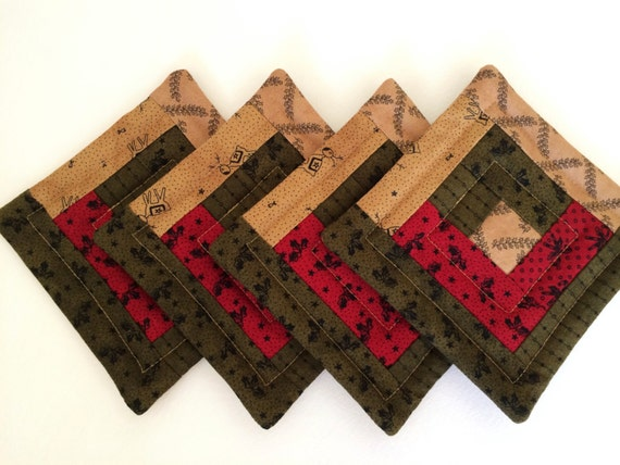 4 Quilted Log Cabin Coasters Moda Christmas Fabrics In By