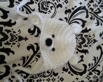 Polar Bear Ear Flap Hat Crocheted, Newborn-Adult sizes