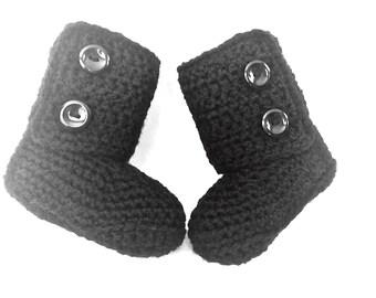Ugg Baby Booties Black, Crocheted Baby Booties