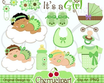 Its a Girl Baby Icon -Green Digital Clipart Set -Personal and Commercial Use-paper crafts,card making,scrapbooking,web design