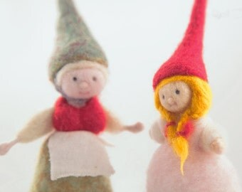Two little gnome - Waldorf toy -  Needle felted art doll - collectable mini doll