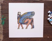 Board game art - Tigris Euphrates Winged Bull Original Cover Art - unique gift for board game fan