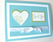 Thank You Card Handmade Card Wedding Gift Thank You Turquoise and White with Sea Green Shabby Chic Heart White Ribbon Handmade Thank You