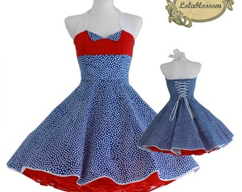 50's vintage dress royal blue red white dots eco friendly Made after your measurements #0029