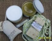 ORGANIC GIFT SETS several scent options-Lemongrass, Coconut Lime, Peaches N Cream etc. Soap saver, sugar scrub, body butter, lip balm, soap.