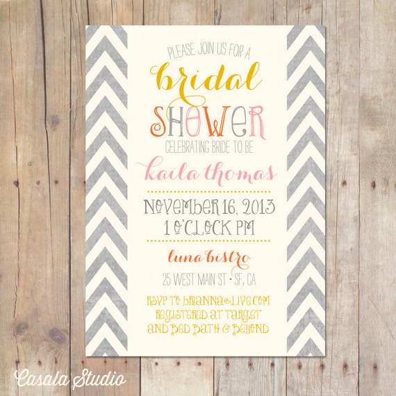 Received Wedding Gift Without Card : Summer Autumn Mustard Chevron Bridal Shower Invitation Baby Shower ...