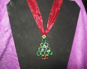 Handmade chainmaille Christmas tree necklace