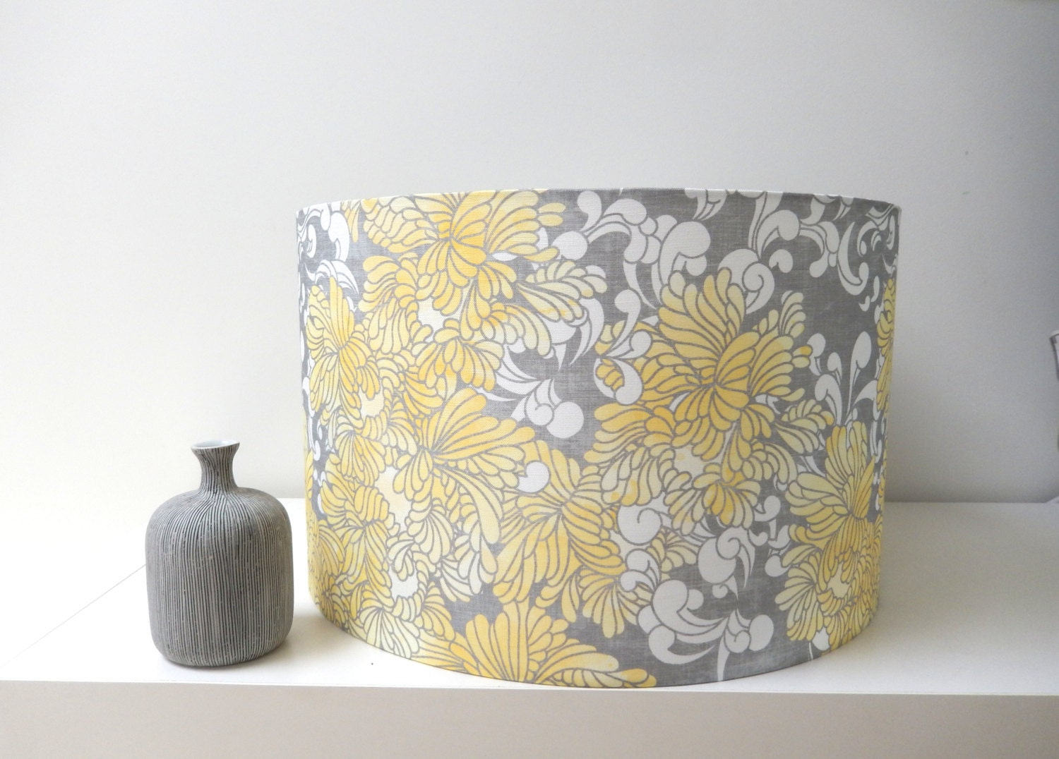 Yellow And Grey Floral Pendant Lamp Shade By Belljarinteriors