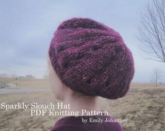 Slouch Hat PDF Knitting Pattern, Quick Easy Tam Beanie Beret, Chunky Bulky Yarn, Women & Teen Girls