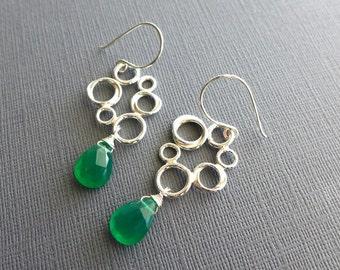 Multi-circles Green Onyx Sterling Silver Earrings