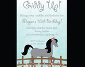 Horse Birthday Invitation Horse Invite Horseback Riding Party DIY Printable