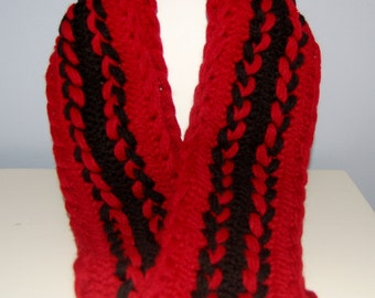 Deep Red Hairpin Lace Scarf