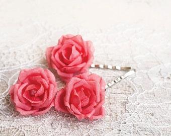 Pink wedding, Hair accessories, Rose hair pins, PInk flower pins, Hair pins wedding, Bridal hair piece, Flowers hair accessories, Hair clips