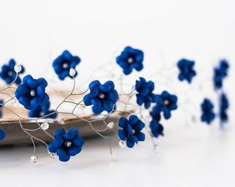 51_Deep blue wedding flower halo, Bridal hair halo, Wedding halo, Blue flower headband, Silver halo, Pearl accessory, Floralheadband, Silver