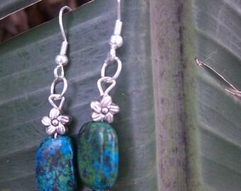 Semi-precious green and turqoise bead earrings