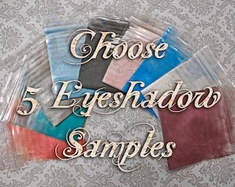 Eyeshadow Samples: Choose Five (5) Colors in Sample Baggies or Clamshells, Vegan Makeup, Mineral Cosmetics, Ships Out in 4-7 Days