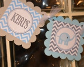 Elephant Baby Shower banner, mod elephant, blue and grey, includes name, elephant banner