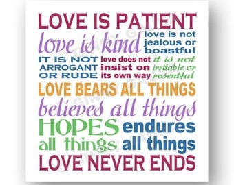 Love is Patient Love is Kind Corinthians Bible Verse Art Print - 8x8 Square - Color Inspirational Home Decor Gift - Design by Ginny Gaura