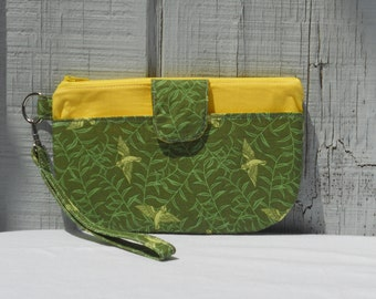 SALE- Wristlet, Yellow Birds on Green, Green and Yellow Clutch, One of a Kind