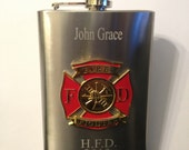 Fireman Flask , Firefighter Flask , Fire Fighter Flask 8oz  Stainless Steel Chrome Retirement Memorial  Free Engraving Custom Personalized