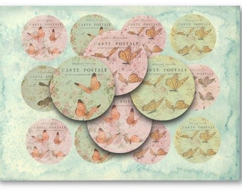 Digital Collage Sheet Download - Shabby Chic Butterflies 2.5 inch Circles -  867   for Jewelry Pendants - Instant Download Printables