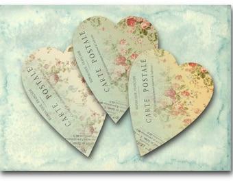 Digital Images - Digital Collage Sheet Download - Carte Postale Hearts -  373  - Digital Paper - Instant Download Printables