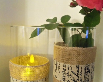 Burlap Candle Holder and Burlap Vase, Home & Living, Mantle, Vase, Holidays, Spring Celebrations, Housewares, Home Decor