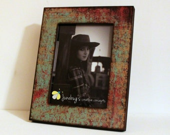 5x7 5x5 4x6 Turquoise Red Oxidized Photo Frame