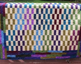 "Lap Quilt ""Stack of Bars"" - Jewel Tones- Handmade Quilt"