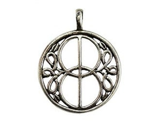 Chalice Well Pendant - Pewter, Well cover, Celtic knot, Mandorla, Vesica piscis, Celtic well design, Spirit gateway, Glastonbury