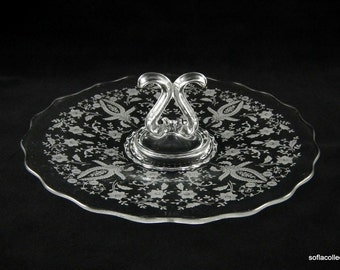Viking 5294 Princess Line Center Handle Server with Prelude Etch - Vintage 1950s - 1960s Viking Glass