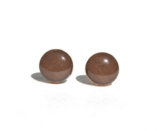 Vanilla bean brown wood studs, brown post earrings,  brown studs, eco friendly jewelry, wood earrings, minimalist jewelry