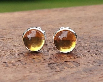 6mm Citrine Gemstone Stud Post Earrings Fine Sterling Silver Shiny - Little Bits of Color