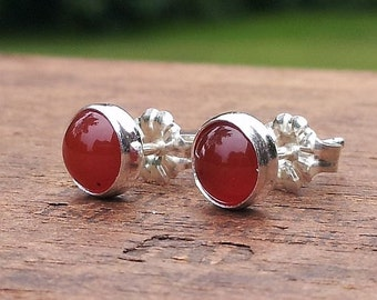 6mm Red Carnelian Gemstone Stud Post Earrings Fine Sterling Silver Shiny - Little Bits of Color