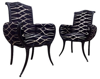 Vintage French Upholstered Painted Black Chairs Designer Velvet Fabric Modern Contemporary Chic Hollywood Glam