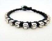 Rhinestone friendship bracelet / Stacking bracelet / black / Silver / BFF / Rocker Glam Chic / teens tweens /