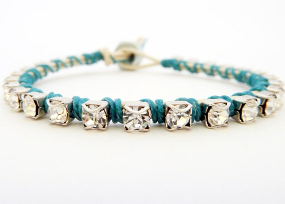 Ready to Ship / Rhinestone friendship bracelet / white / teal blue turquoise peacock / silver / sky ocean sea nature inspired