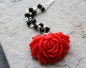 SALE Garden Romance Necklace- Rose Filigree Red Flower and Pearl Necklace- Silver Plated Chain