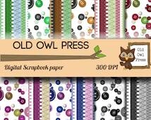 Sewing and buttons Scrapbook papers // Digital scrapbook paper 12 by 12, 12 papers, 300 DPI, commercial use