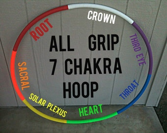 All Grip 7 Seven Chakra Hoop Fitness Hula Hoop COLORFUL Neon EXERCISE COLLAPSIBLE or Push Button