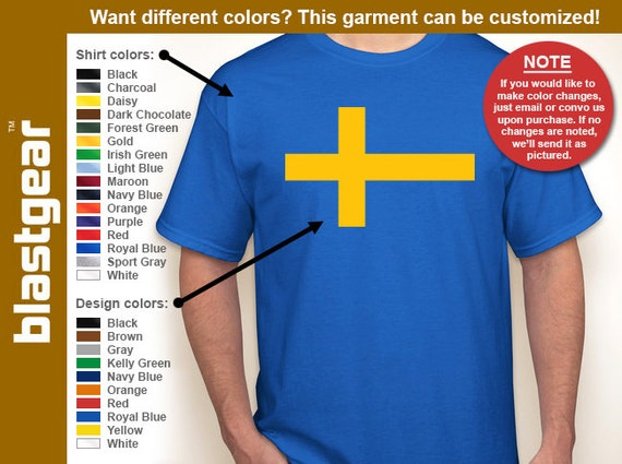 Flag of Sweden Scandinavian Cross T-shirt — Any color/Any size - Adult S, M, L, XL, 2XL, 3XL, 4XL, 5XL  Youth S, M, L, XL