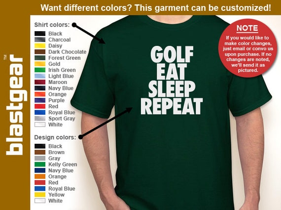 Golf, Eat, Sleep, Repeat enthusiast T-shirt — Any color/Any size - Adult S, M, L, XL, 2XL, 3XL, 4XL, 5XL Youth S, M, L, XL