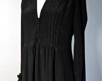 Vintage Black Pleated Dress  - Tuxedo with Ruffles