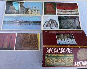 Set of 5 old vintage travel cards + cover