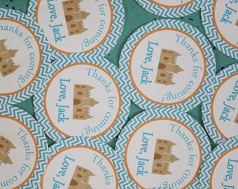 CHEVRON BEACH Happy Birthday or Baby Shower Favor Tags or Stickers set of 12 {One Dozen} - Party Packs Available