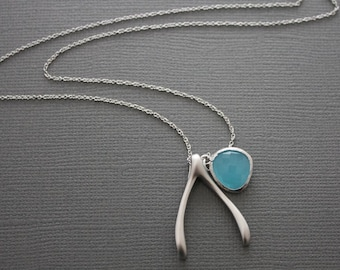 098- Long STERLING SILVER wishbone and sky blue framed glass LONG necklace