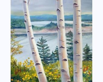 Birch Tree Painting Original Landscape Oil on Canvas 16x20 Art by Janet Zeh Original Art
