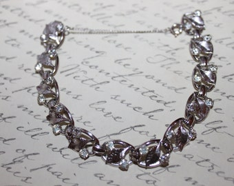 Fab 40's  Krementz Rhinestones & Leaves Bracelet