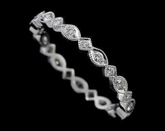 Kite Marquise Diamond Wedding Ring, Eternity Milgrain Wedding Band, Antique Style Wedding Ring, Round Diamonds Art Nouveau Style Ring Band
