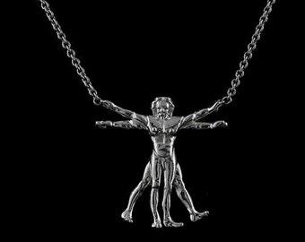 Silver Vitruvian Man Proportions of Man Leonardo Da Vinci Drawing Necklace Pendant
